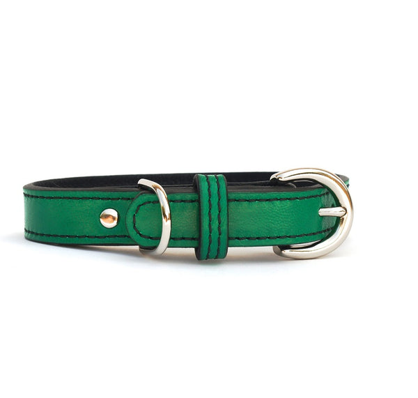 Minimalist Country Club Green Too Leather Dog Collar - LuxeMutt