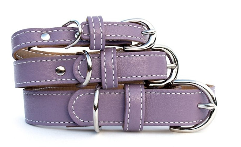 Minimalist Grapeseed Butterscotch Leather Dog Collar - LuxeMutt