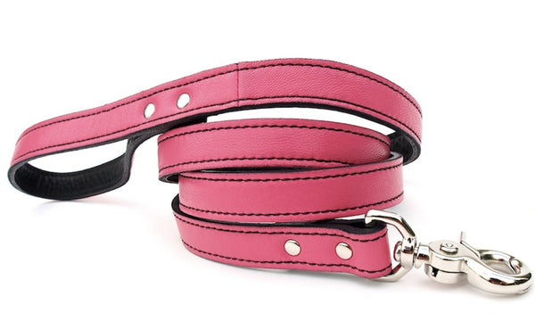 Minimalist LuxeMutt Pink Leather Dog Leash - LuxeMutt