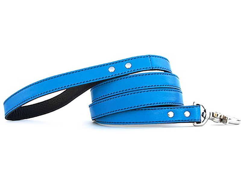 Minimalist Peacock Blue Leather Dog Leash