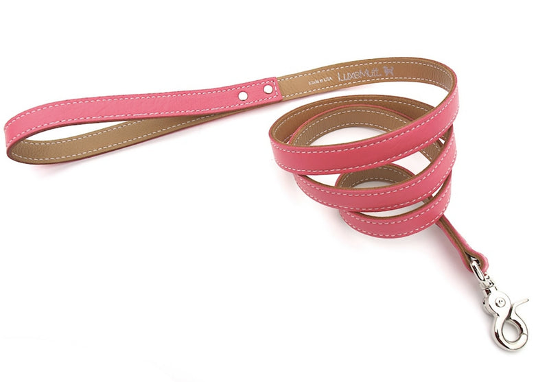 Minimalist Pink Supreme Butterscotch Leather Dog Leash