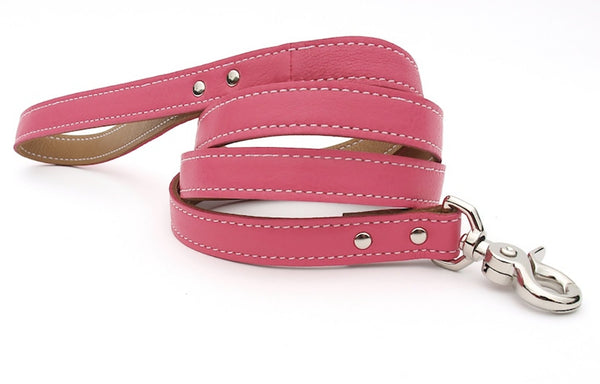 Minimalist Pink Supreme Butterscotch Leather Dog Leash - LuxeMutt