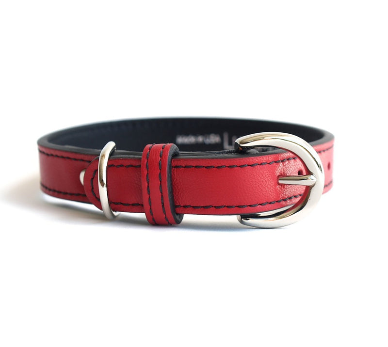 Minimalist Renegade Red Leather Dog Collar - LuxeMutt