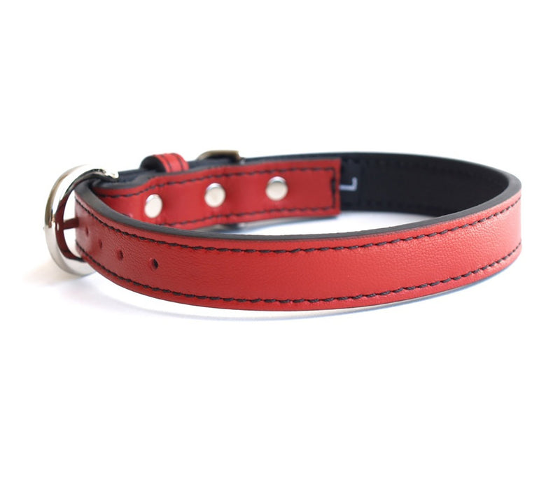 Minimalist Renegade Red Leather Dog Collar