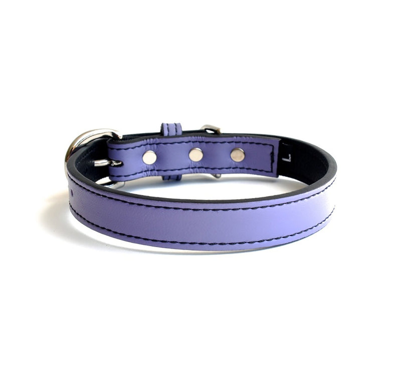 Minimalist Violet Femme Leather Dog Collar - LuxeMutt