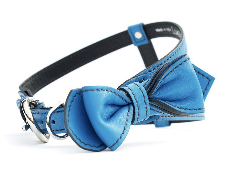 Peacock Blue Bowtie Leather Dog Harness - LuxeMutt