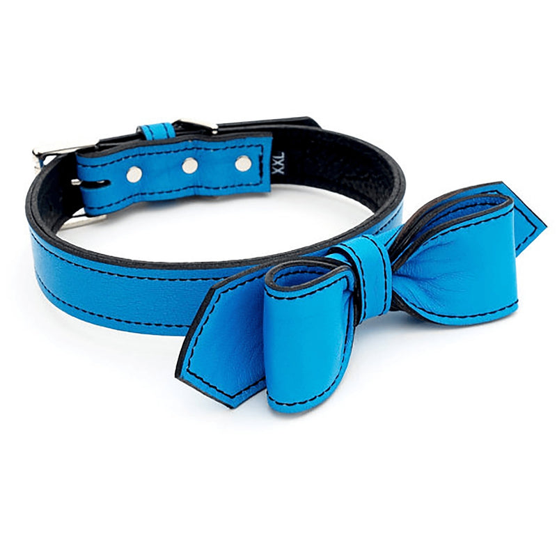 Peacock Blue Martini Bowtie Leather Dog Collar - LuxeMutt
