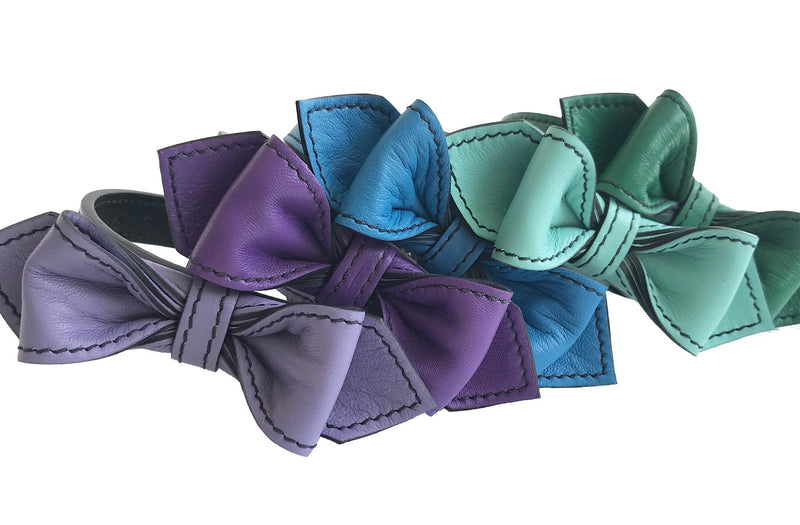 Purplicious Martini Bowtie Leather Dog Collar - LuxeMutt