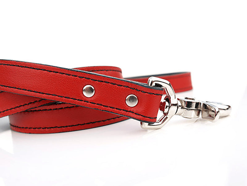 Renegade Red Martini Bowtie Leather Dog Leash - LuxeMutt