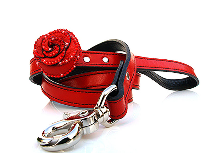 Renegade Red Rosalicous Leather Dog Leash - LuxeMutt