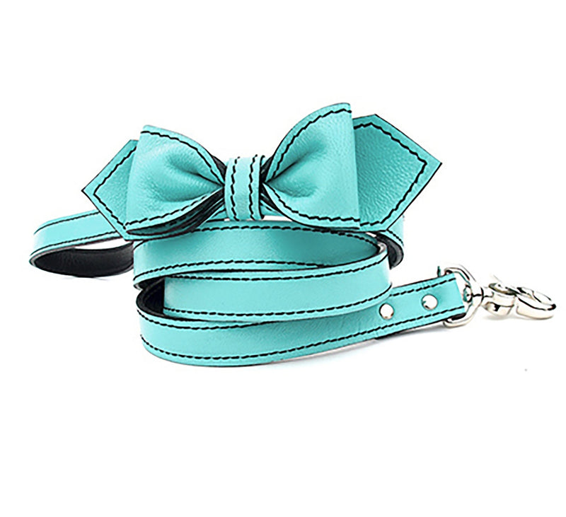 Seafoam Green Martini Bowtie Leather Dog Leash - LuxeMutt