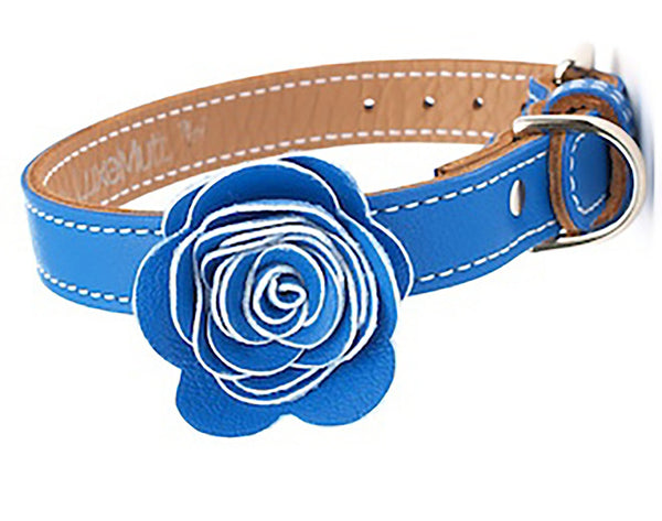 The Flower Child Blue Bliss Leather Dog Collar - LuxeMutt