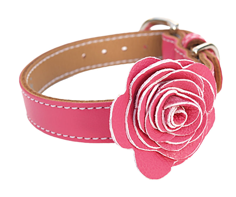 The Flower Child Pink Supreme Leather Dog Collar