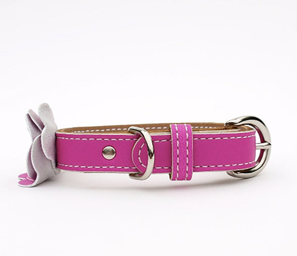 The Flower Child Purple Rain Leather Dog Collar - LuxeMutt