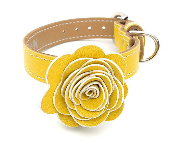 The Flower Child Sunshine Yellow Leather Dog Collar - LuxeMutt