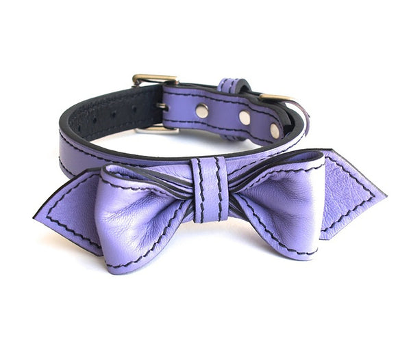 Violet Femme Martini Bowtie Leather Dog Collar - LuxeMutt