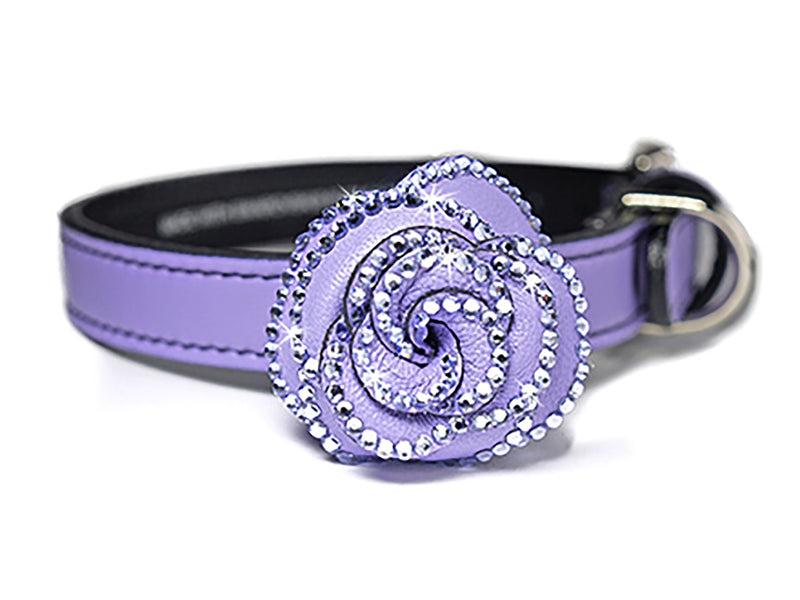 Violet Femme Rosalicious Leather Dog Collar - LuxeMutt