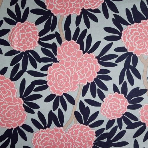 navy fleur chinoise fabric