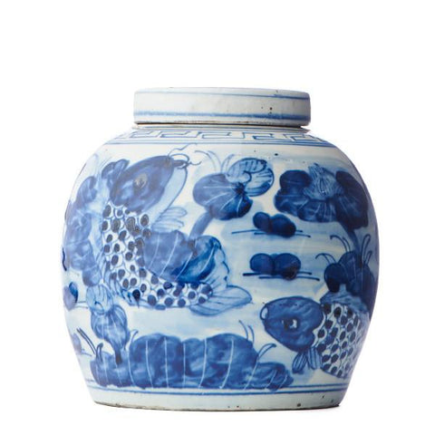 Coy Fish Lidded Ginger Jar