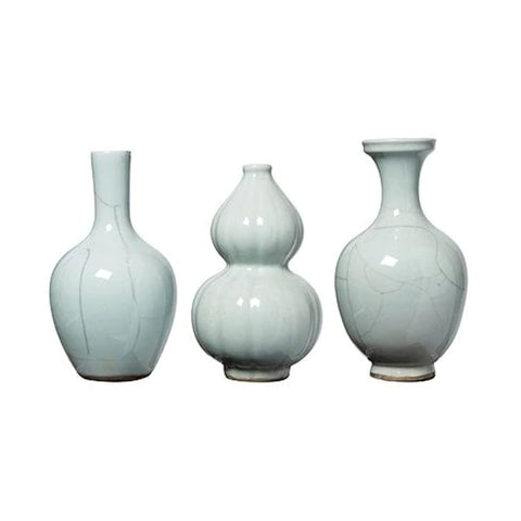 New! Crackle Bud Vase Set