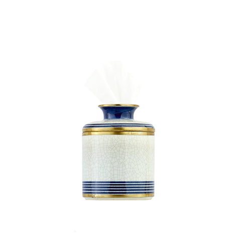 Blue & White Stripe Porcelain Tissue Holder