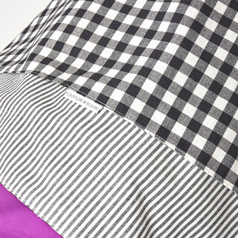 Black French Stripe & Gingham Car Seat Cover