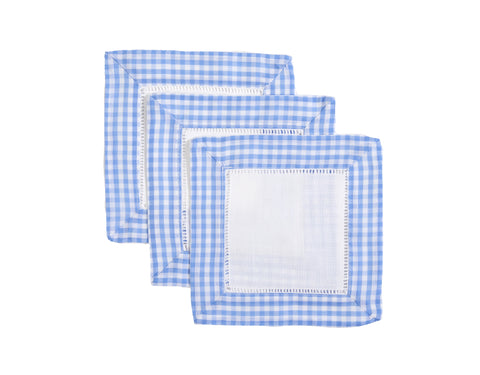 French Blue Gingham Cocktail Napkins