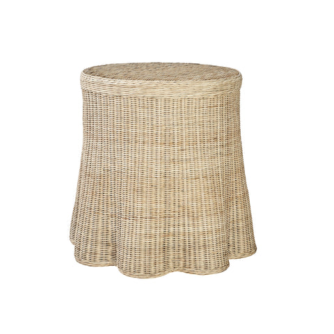 Round Scallop Skirted Side Table