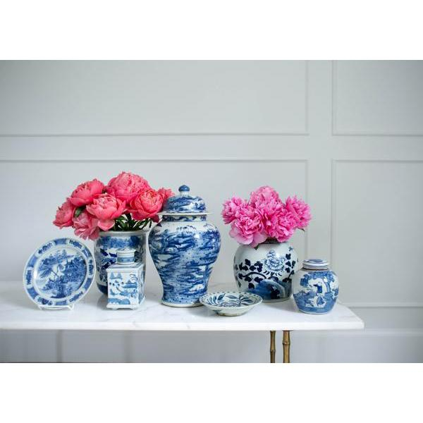 Blue and White Lidded Melon Jar