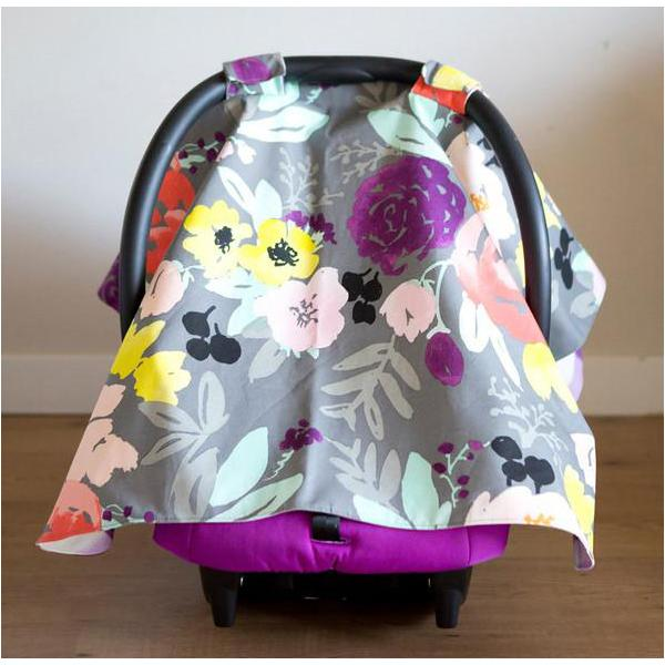 bridge city blooms on grey & lilac buffalo check car seat cover
