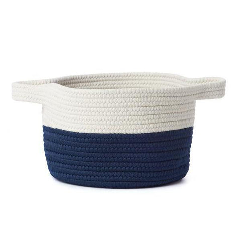 Navy & White Braided Basket with Handles
