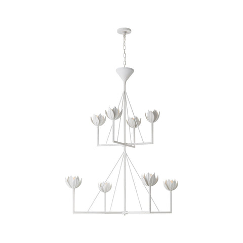 Alberto Large Two-tier Chandeliere in white