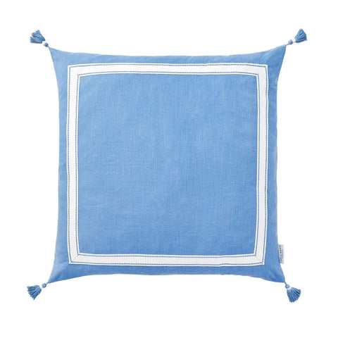 Azure Ribbon Trim Tassel Pillow