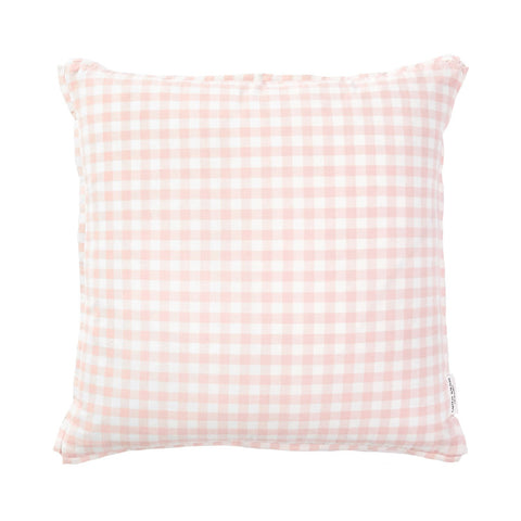 Blush Gingham Pillow with French Welt