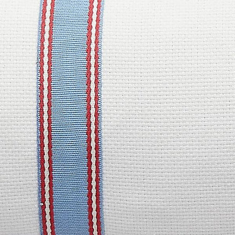 Harbour Stripe in Poppy & Pacific Cotton Fabric Swatch