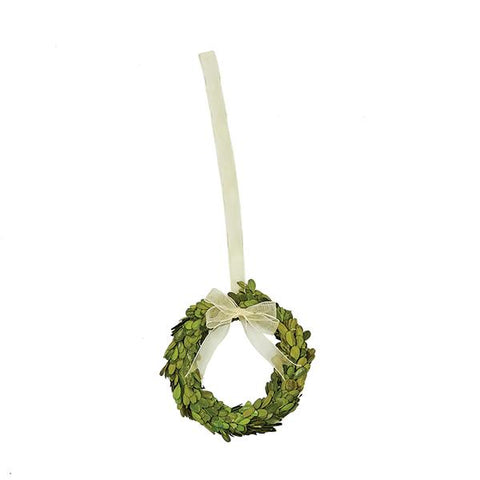 Preserved Boxwood Wreath with Ribbon
