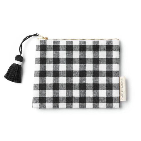 Black Gingham Pouch with Tassel