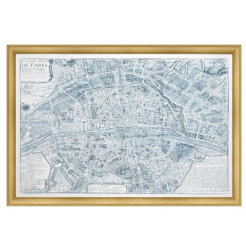 Blue Paris Map Print