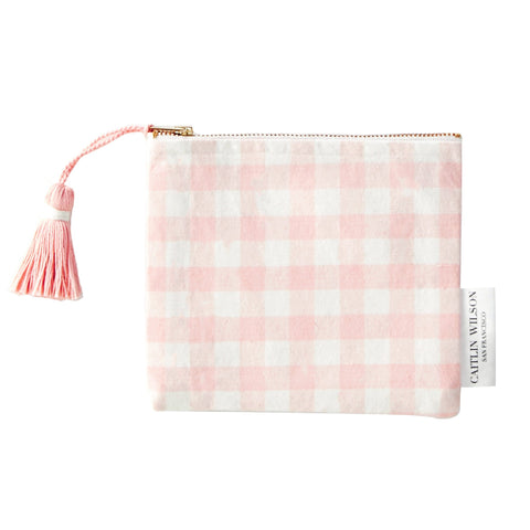 Blush Gingham Pouch with Tassel