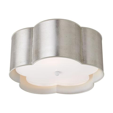Bryce Medium Flush Mount in Burnished Silver & Leaf White