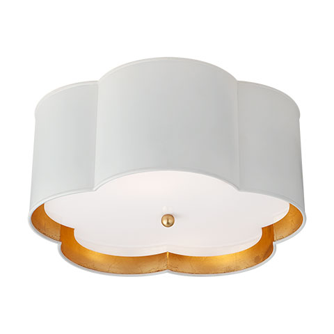 Bryce Medium Flush Mount in White & Gild