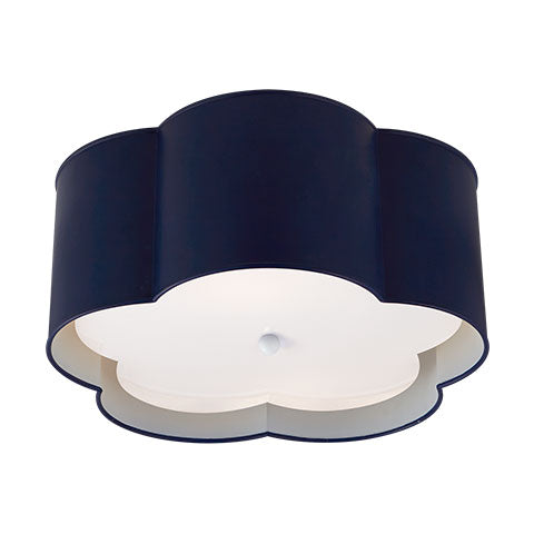 Bryce Medium Flush Mount in French Navy & White