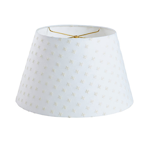 Embroidered Clover Large Lampshade in White
