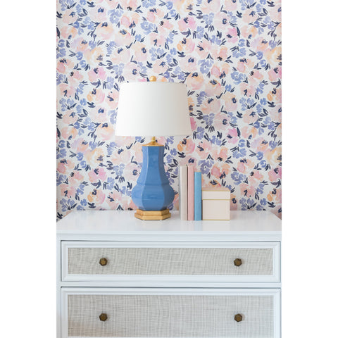 Peony Garden in French Blue Wallpaper