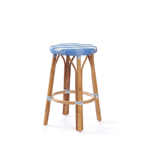 Backless Counter Stool In French Blue
