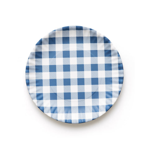 Blue Gingham Melamine Plate Set