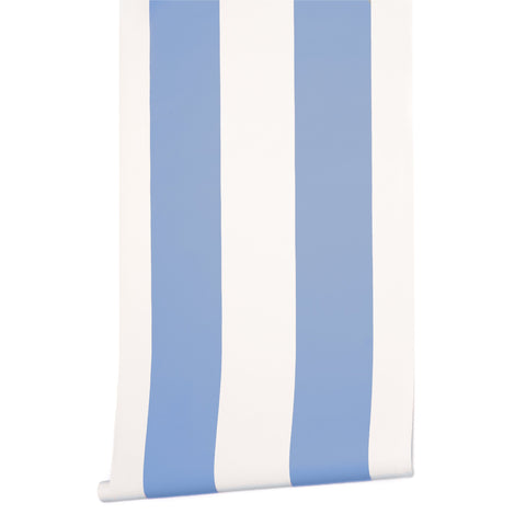 Grande Stripe Wallpaper in French Blue