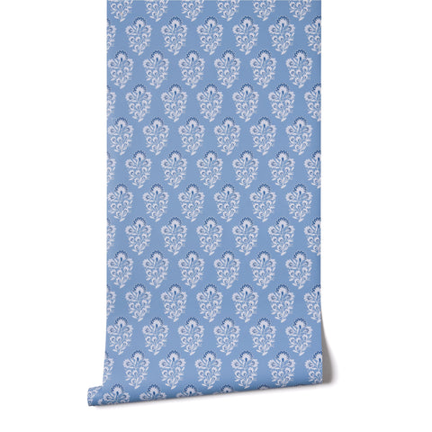 Block Print in French Blue Wallpaper