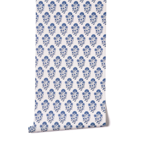 Block Print in Blue & White Wallpaper