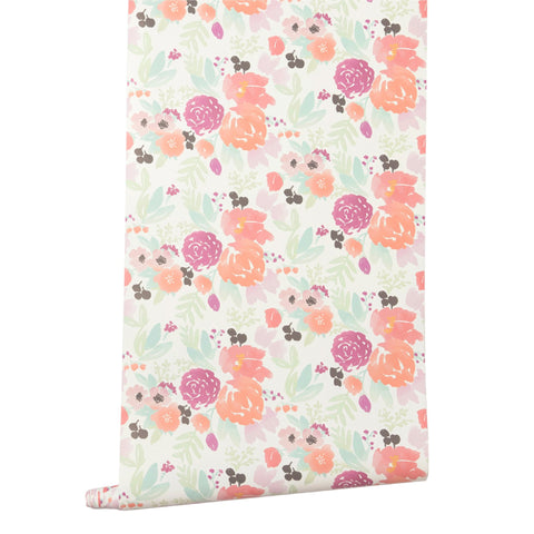 Pastel Blooms Petite in White Wallpaper
